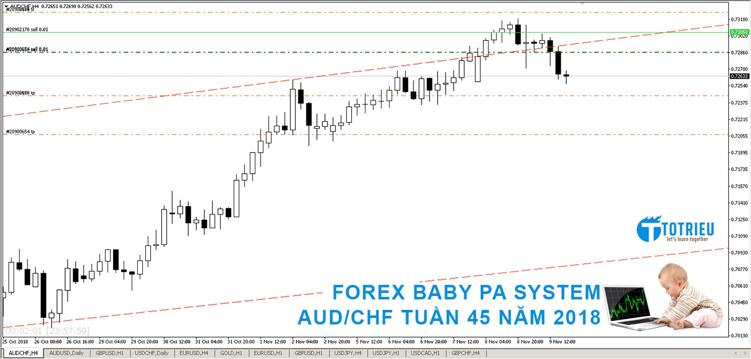 FOREX BABY PA SYSTEM: AUD/CHF tuần 45 năm 2018